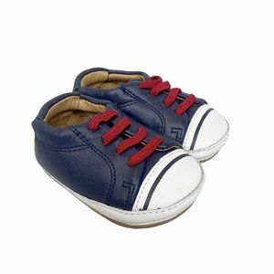 Umi Lex Navy Blue Leather Crib Shoes Size 2.5